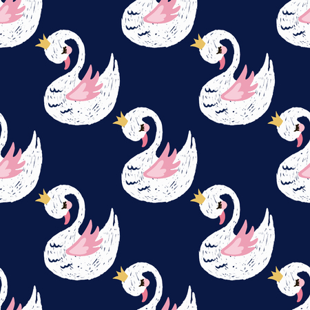 Seamless pattern with cute little princess swan. Cartoon hand drawn vector illustration. Illusztráció