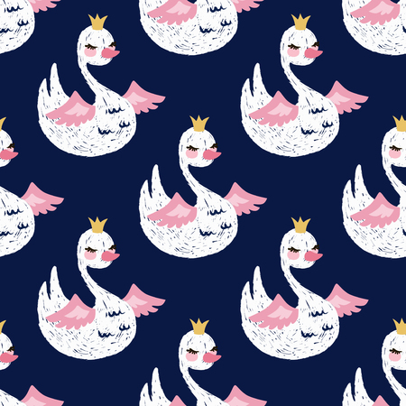 Seamless pattern with cute little princess swan. Cartoon hand drawn vector illustration. Vettoriali