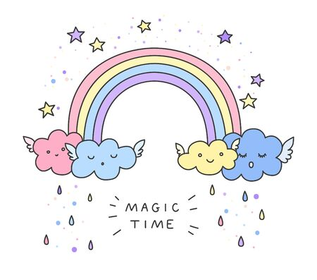 Cute rainbow, funny clouds, stars and fashion slogan. Vector hand drawn illustration.