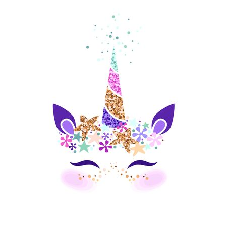 Unicorn head vector illustration. Can be used for fashion design, kids wear, greeting and invitation card.