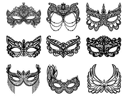 Carnival Mask Silhouette Clipart. Vector illustration. 矢量图像