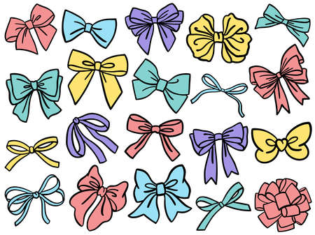 Bow clipart. Set of decorative colorful bow silhouette. Vector illustration