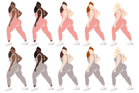 Plus size Fitness Woman Clipart, Afro Girl Curvy Clipart, Abstract Female Figure, Faceless Modern Clipart.