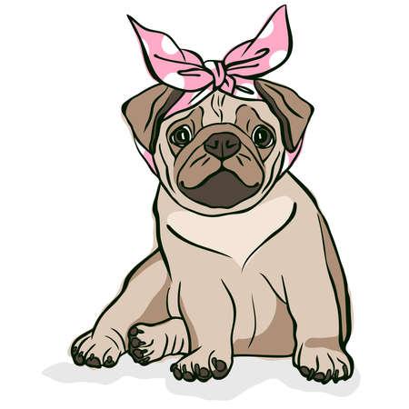 Cute little puppy. Vector illustration.
