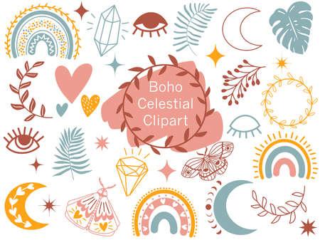 Boho Celestial Clipart. Vector Doodle illustration. 矢量图像