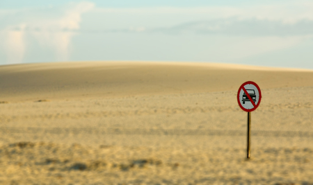 no way: sign in the desert no way for car Stock Photo