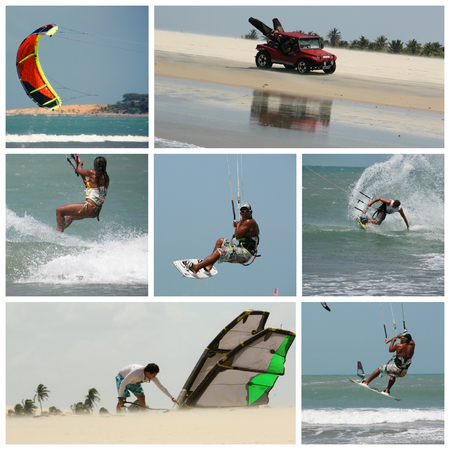 kite surfing: collage six photos kite surfing sport in Brasil