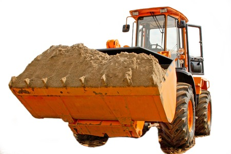 isolated Excavator with the river sand in bucket to on white background