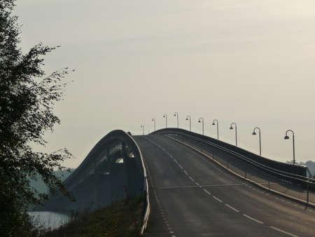 sund: Bridge and grey sky Stock Photo