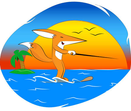 cheerful mr. fox, water skiing, against the background of the sun and a beautiful sunset with gulls