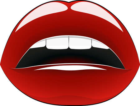 Elegant lips - red, on a white background, with beautiful white teeth. Reklamní fotografie - 104731433