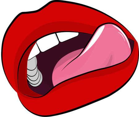 Labbra - rosse con la lingua, su uno sfondo bianco isolato. Vettoriali