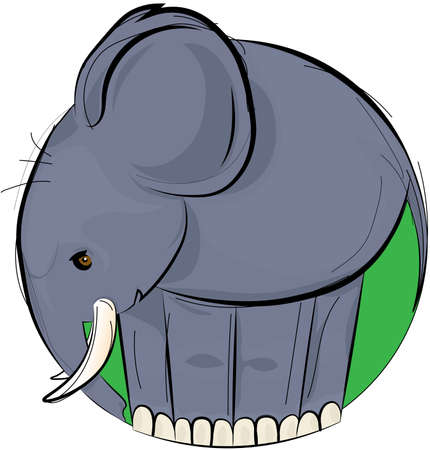 vector illustration design of hand-drawn gray elephant in green circle isolated on white background