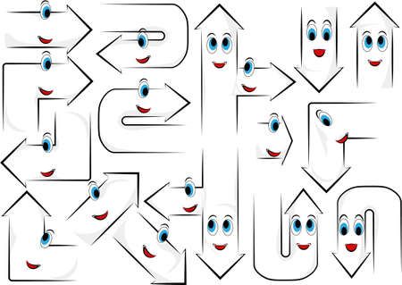 Clipart. Happy Guides Arrow. Up, down, right, left, turn, turn. Reklamní fotografie - 105316270