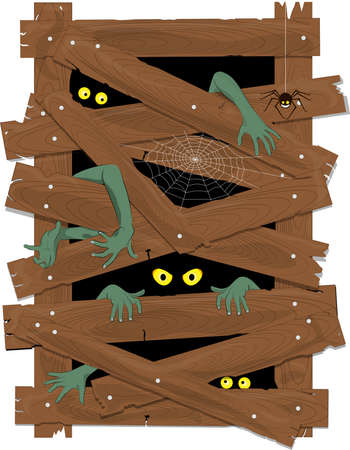 isolated on white background vector, indoor planks doorway with hands of monsters and spider. Ilustrace