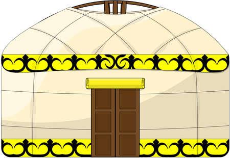 Vector color image on isolated white background, folk dwelling of eastern nomadic peoples of Asia - yurt. Çizim