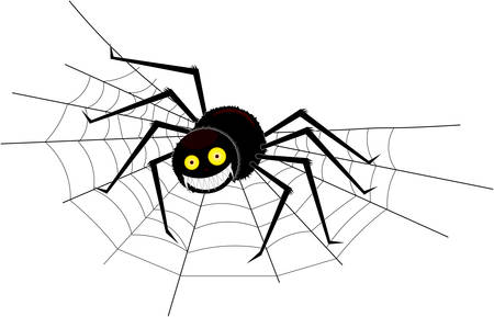 A large charming spider wow a cobweb in the corner and now sits on it smiling, on an isolated background. Ilustrace