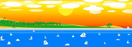sea, sun, palms, beach, yacht beautiful background with sunset.