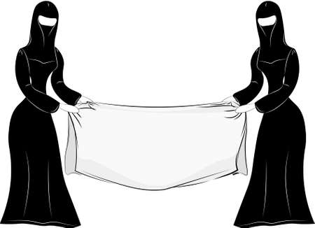 Cidrat eastern Muslim woman in national dress - Chadra, Hijab, burqa, Nikab. With an empty streamer on an isolated background.