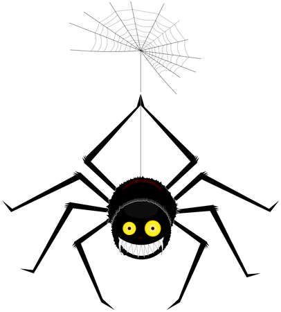 A large, beautiful smiling spider, isolated on a white background. Ilustrace