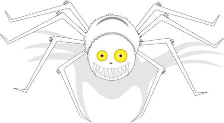 Large white, charming, smiling spider with yellow eyes and shadow, on an isolated background.