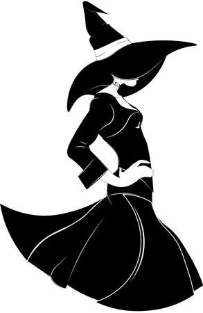 Black and white silhouette of a fashionable witch in a dress and a hat with a wide brims in a fashion style, on an isolated background.
