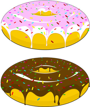 Two beautiful donuts with icing and chocolate sprinkled with candies, on an isolated background.