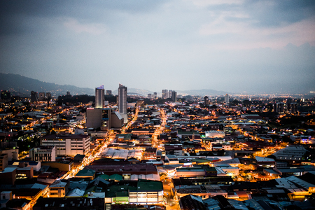 Panoramic view of the city of San Jose, Costa Rica at sunset