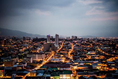 Panoramic view of the city of San Jose, Costa Rica at sunset 写真素材