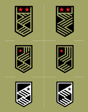 affiliation: Star and stripes shield military collection. Illustration