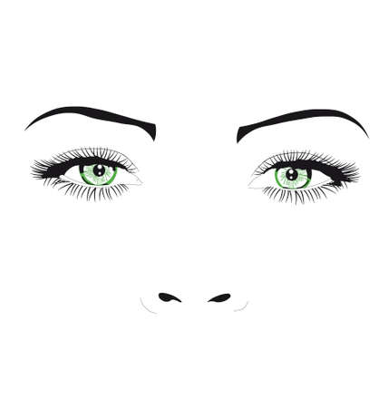 eye drawing: Eyes green