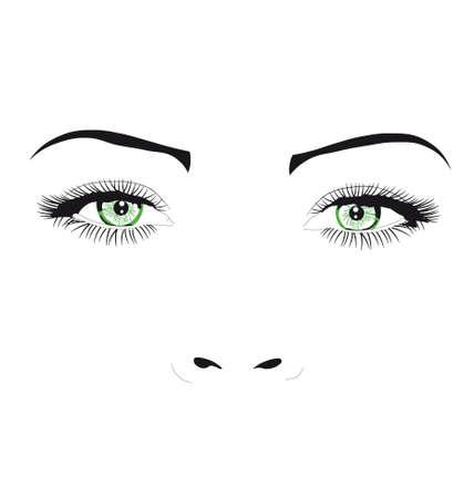 ojos: Ojos verdes Vectores