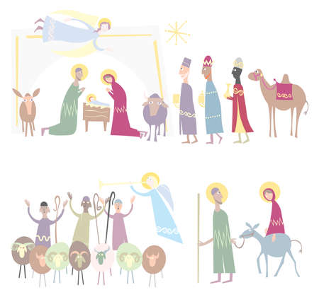 Jesus, Mary and Joseph in the stable at Christmas Illustration Vector