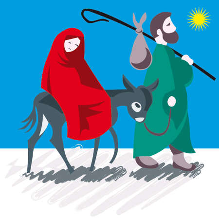 messiah: Ges�, Maria e Giuseppe a Natale illustrazione vettoriale