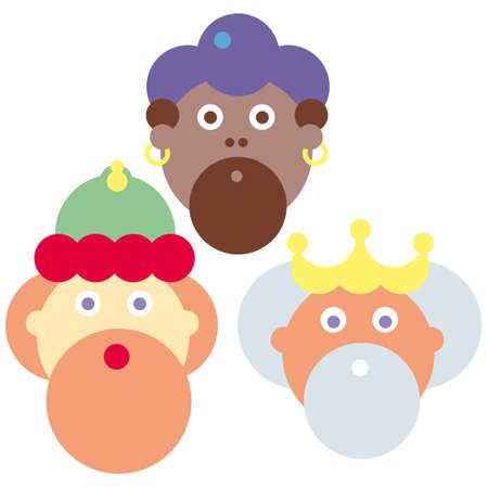 trois: Trois rois vector illustration Melchior Baltasar Gaspar Illustration