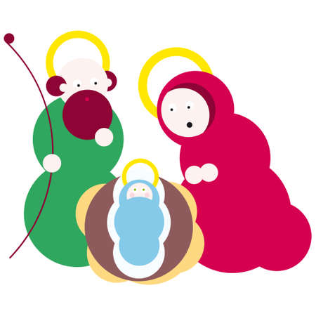 creche: Nativity. Vector illustration Christmas