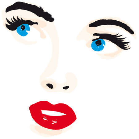 eyelashes: woman face illustration vector