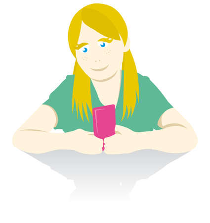 vector image of girl with cellphone  Stock Vector - 5873858