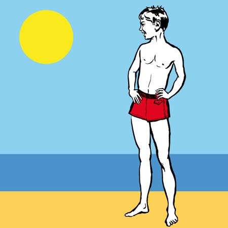 Abbildung eines jungen auf einem Strand Blick auf Meer  Vektorgrafik