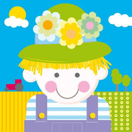 Farm Girl cartoon vector illustration Stock Vector - 5919538