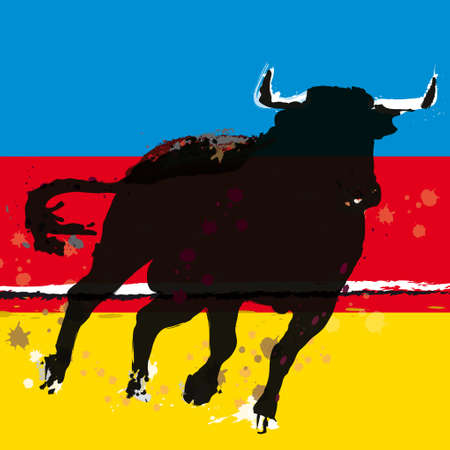 corrida: bull Grunge Spanish Matador Vector illustration
