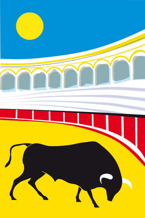 fight arena: bull Grunge Spanish Matador Vector illustration