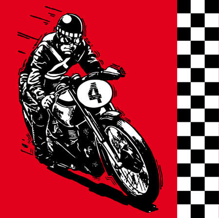 moto motocycle retro vintage classic illustration