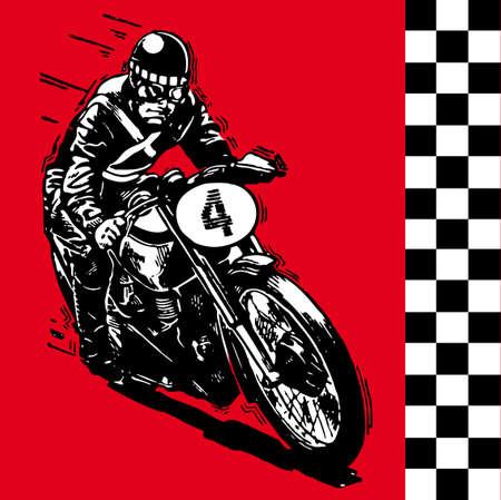 melancholic: moto motocycle retro vintage classic illustration