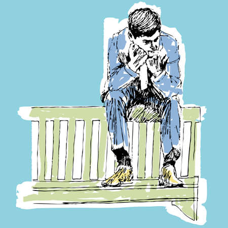 confused person: Man holds his head down in sadness vector cartoon illustration Illustration