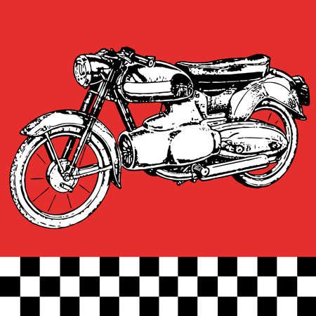 melancholic: moto motocycle retro vintage classic vector illustration  Illustration