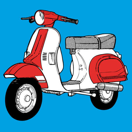 fietsstuur: moto scooter motocycle retro vintage classic vector illustratie