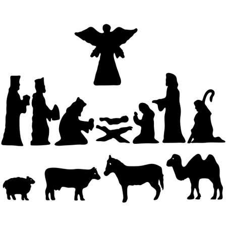 Illustration vectorielle. Étoile de Bethléem. Crèche