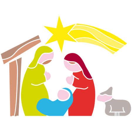 betlehem: Abbildung Vektor. Stern von Bethlehem. Krippe