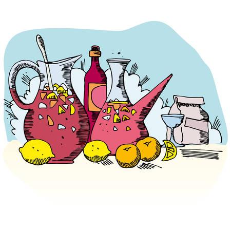 spanish sangria to enjoy summer  Stock Vector - 6069339